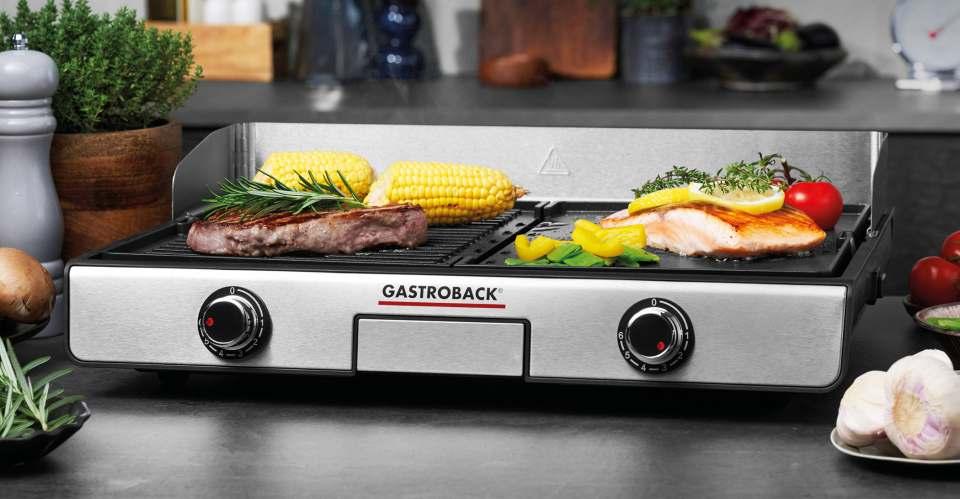Gastroback Grill Design Plancha & BBQ mit 2 getrennt regelbaren Platten.
