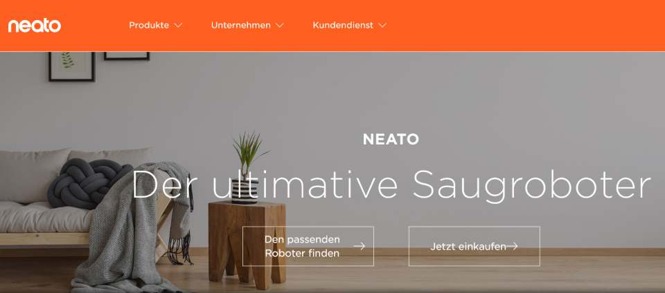 Direkt beim Hersteller kaufen: Neato mit eigenem Online-Shop.