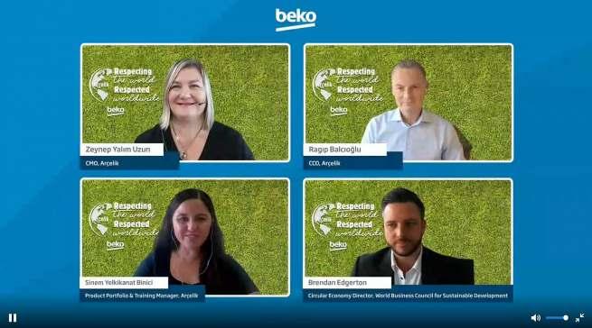 Die Referentinnen und Referenten des internationalen Beko-Launch für nachhaltige Hausgeräte.