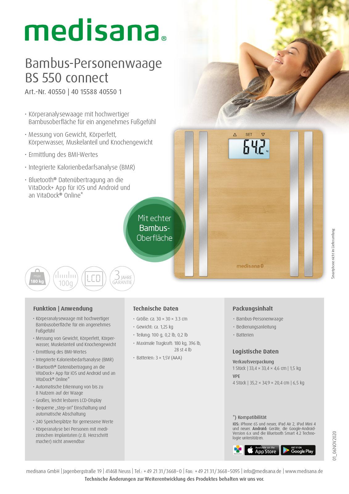 Körperanalysewaage BS 550 connect aus echtem Bambus Produktblatt