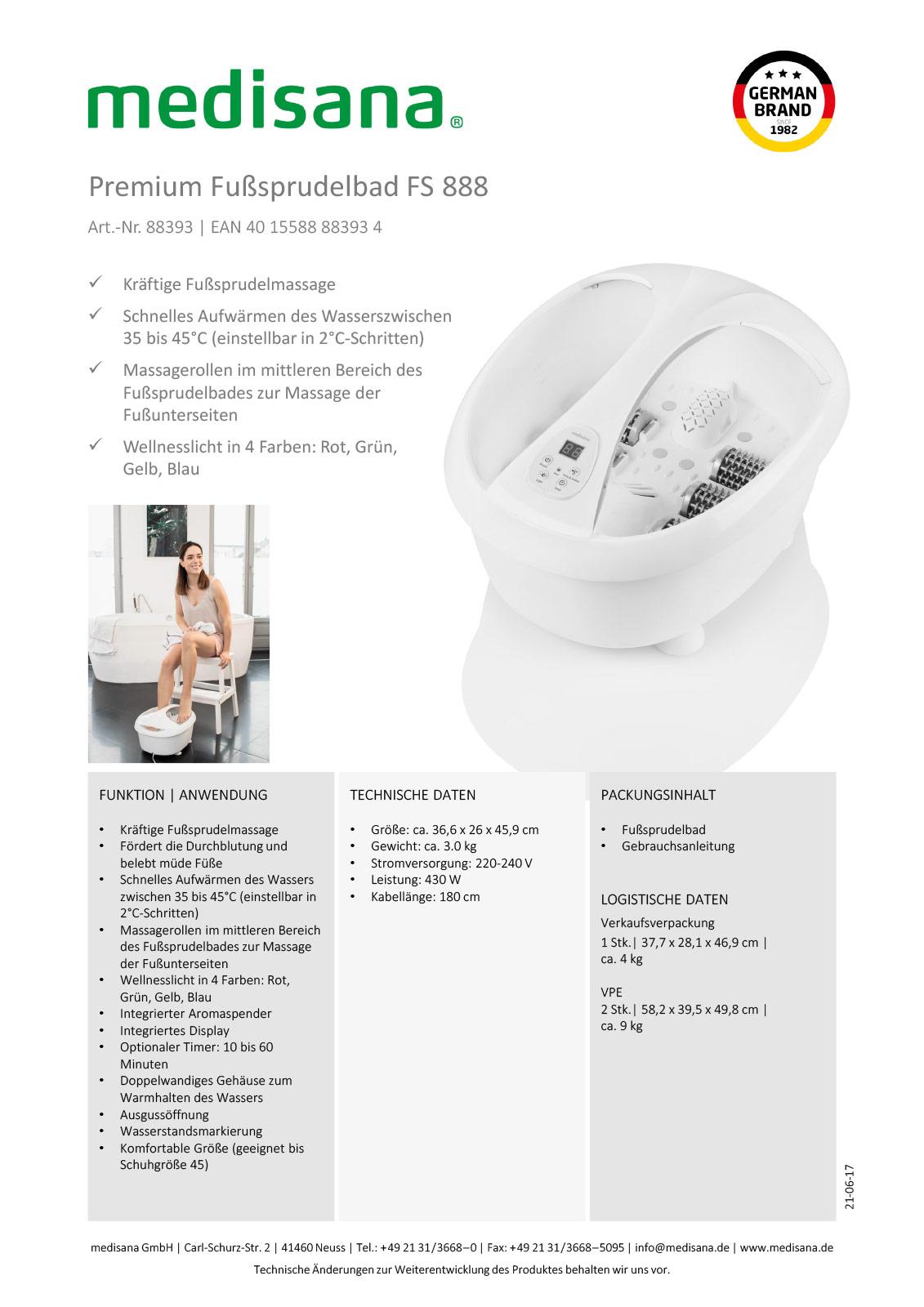 Premium Fußsprudelbad FS 888 – Hochwertiges Design mit vielfältigen Funktionen Produktblatt