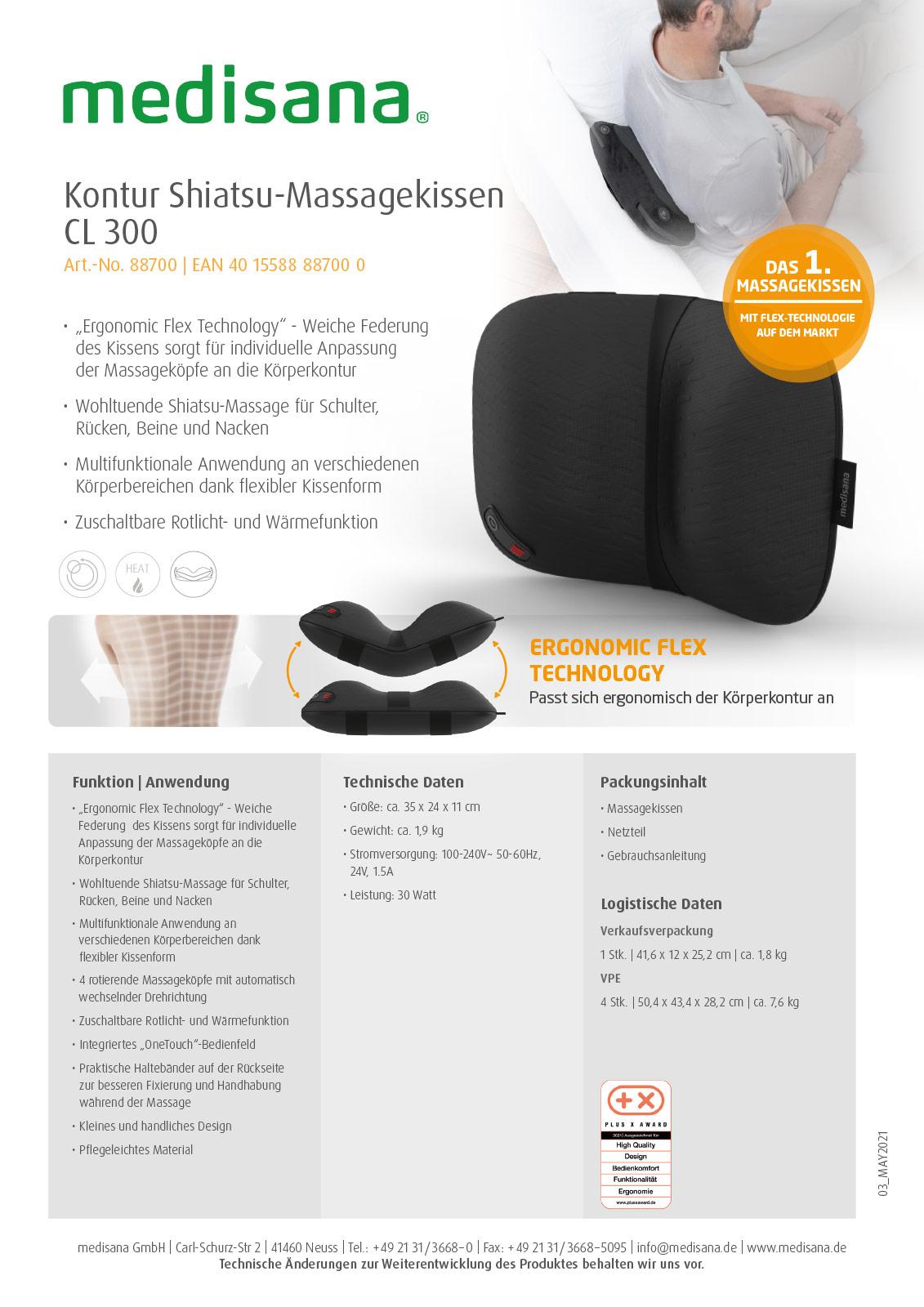 "Kontur Shiatsu-Massagekissen CL 300 mit innovativer ""Ergonomic Flex Technology"" Produktblatt"