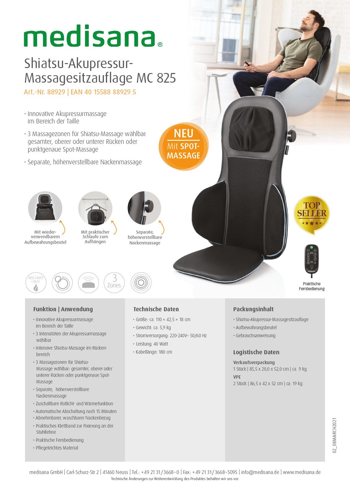 Massagesitzauflage MC 825 Produktblatt