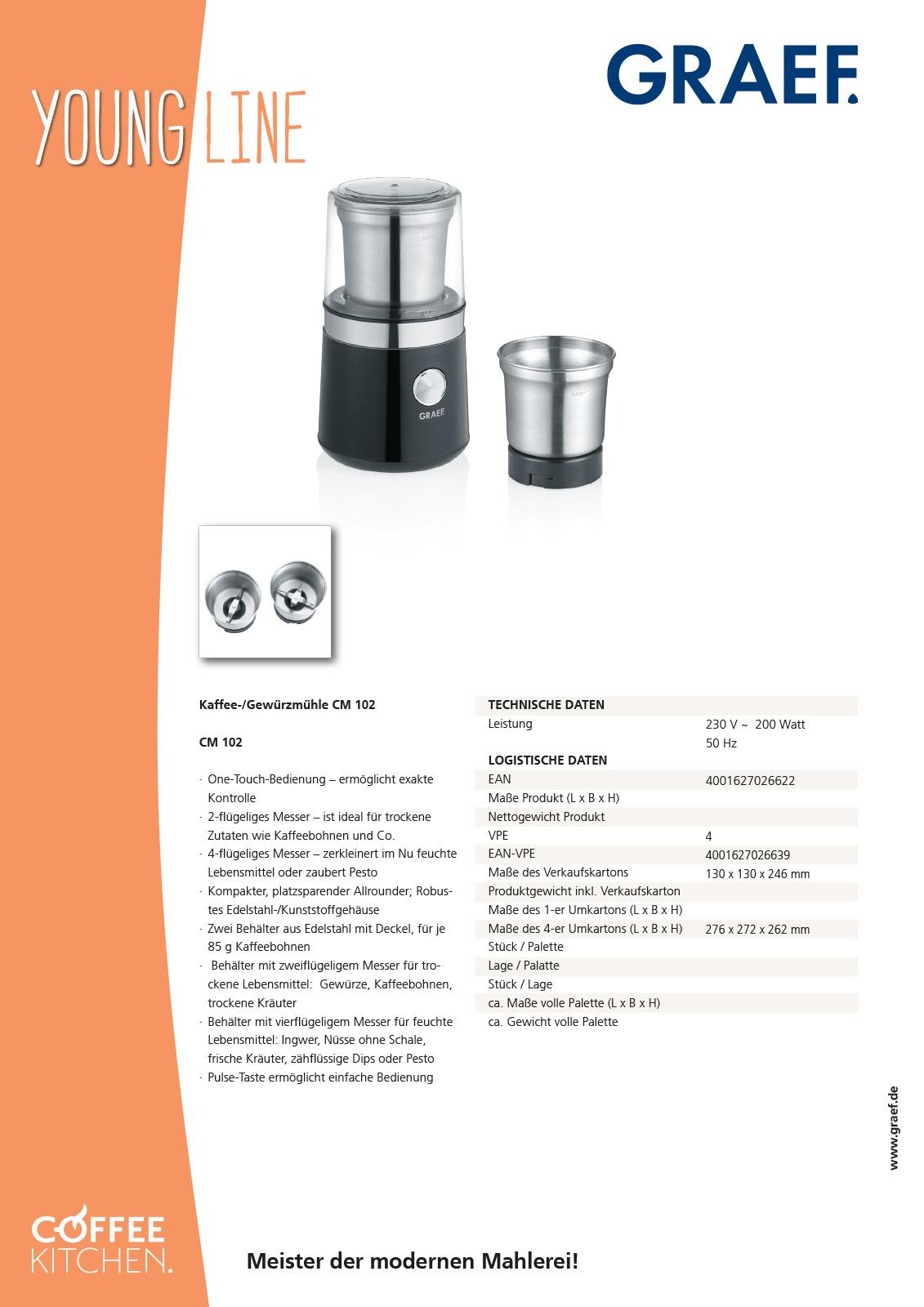 Mühle CM102 von GRAEF Produktblatt