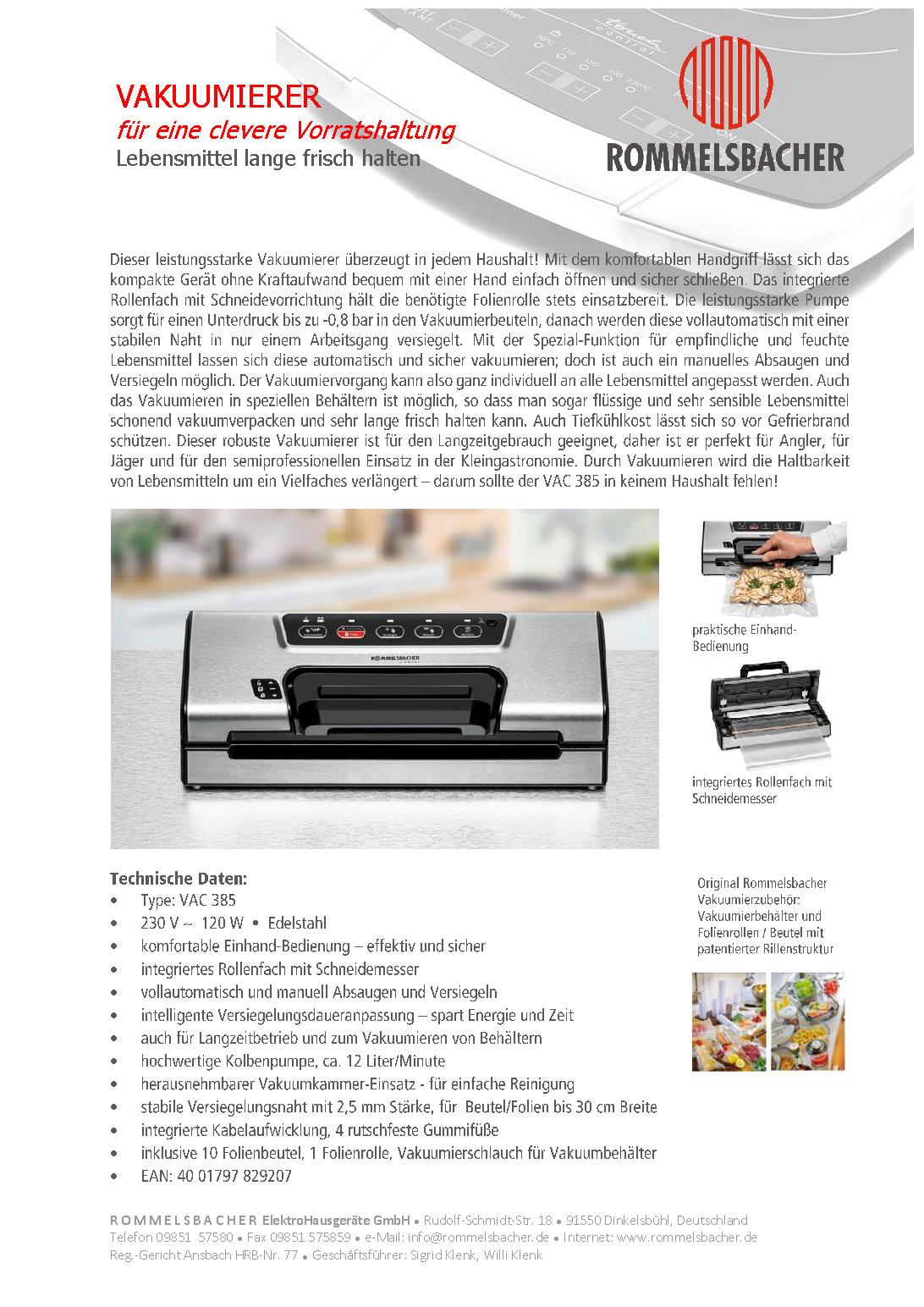 ROMMELSBACHER Vakuumierer VAC 385