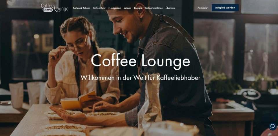 Beantwortet Fragen rund um den Kaffee: Die Coffee Lounge von De´Longhi.