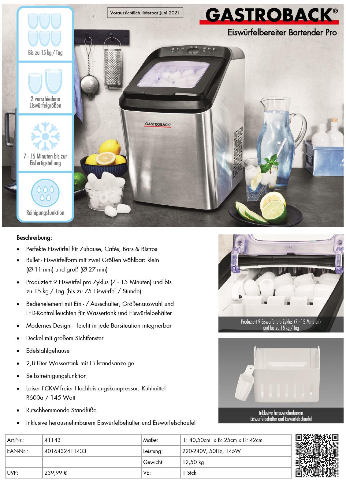 Gastroback Eiswürfelbereiter Bartender Pro Produktblatt