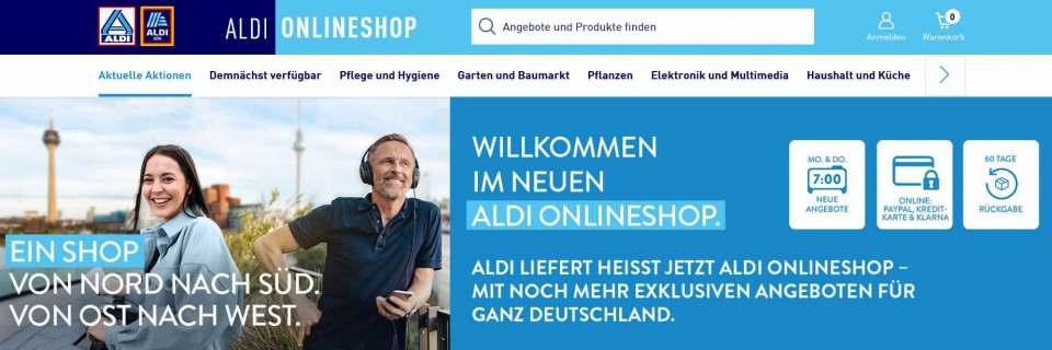 Im neuen Look vereint: Onlineshop Aldi-Nord und Aldi-Süd.