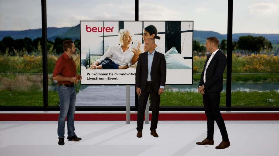 """Technisch brillant umgesetzt als wäre man unmittelbar mit dabei: Der """"Innovation and Product Livestream Event"""" von Beurer. Fotos: Beurer; Screenshots: Gabriel Wagner"""