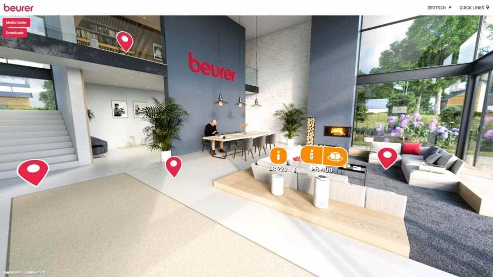 Inspiriert und informiert: Der neue Beurer Showroom in 3D.