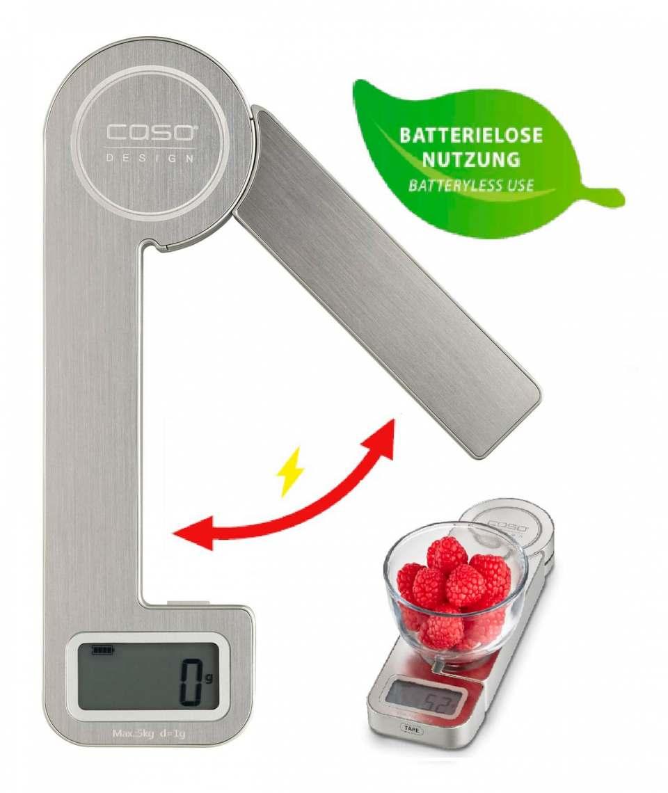 Caso Küchenwaage Ecostyle erzeugt Energie durch Bewegen des Waagenschenkels.
