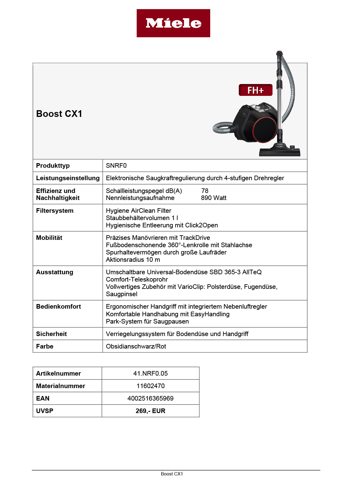 Miele Boost CX1 Datenblätter