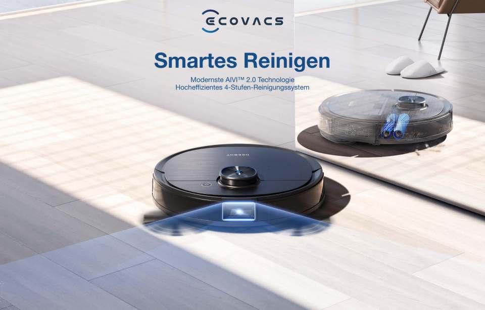 Ecovacs Saugroboter DEEBOT T9 AIVI mit OZMO Pro 2.0 Wischtechnologie.
