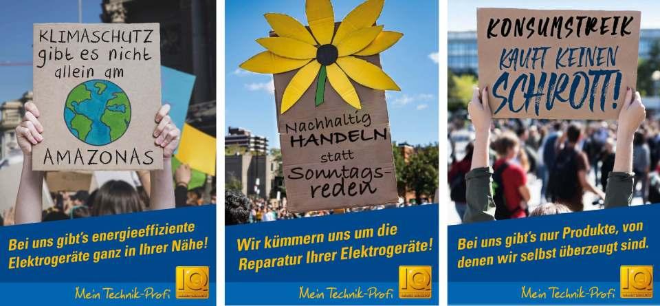 Die drei Poster der neuen telering-Image-Kampagne weisen Kunden darauf hin, dass jeder einzelne etwas für das Klima und die Umwelt tun kann.