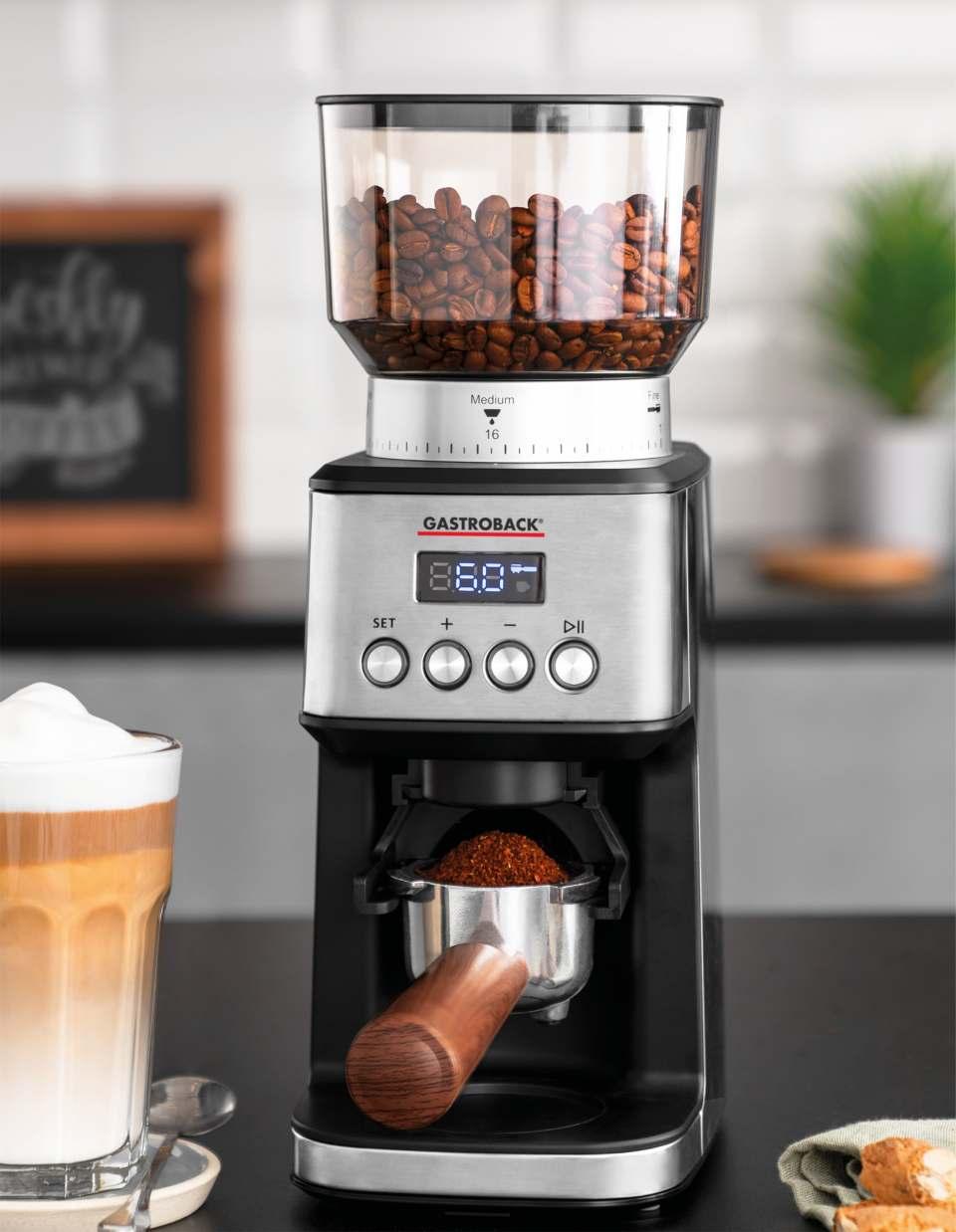 Gastroback Kaffeemühle Digital mit Edelstahl-Kegelmahlwerk.