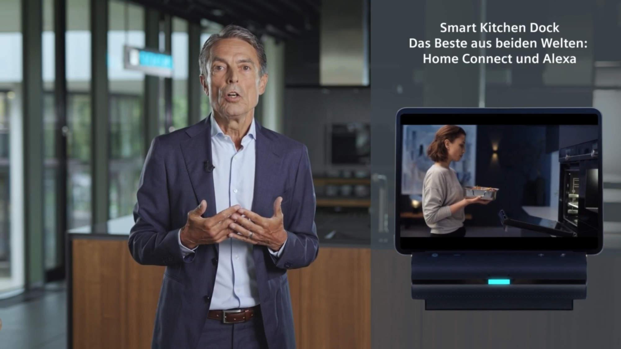 """""""Das Smart Kitchen Dock verbindet das Beste aus den beiden Welten von Alexa und Home Connect. Damit erwacht die intelligente Küche zum Leben"""", Roland Hagenbucher, Geschäftsführer Siemens Hausgeräte."""