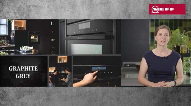 """Neff Marketingleiterin Elena Polontchouk präsentiert die Premiumlinie """"Neff Collection"""" im neuen Farbton Graphite-Grey."""