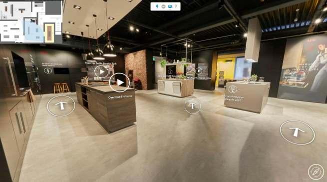 Der neue virtuelle Showroom ist im AEG Look & Feel für interaktive Begegnungen und Produkterlebnisse erschaffen worden.