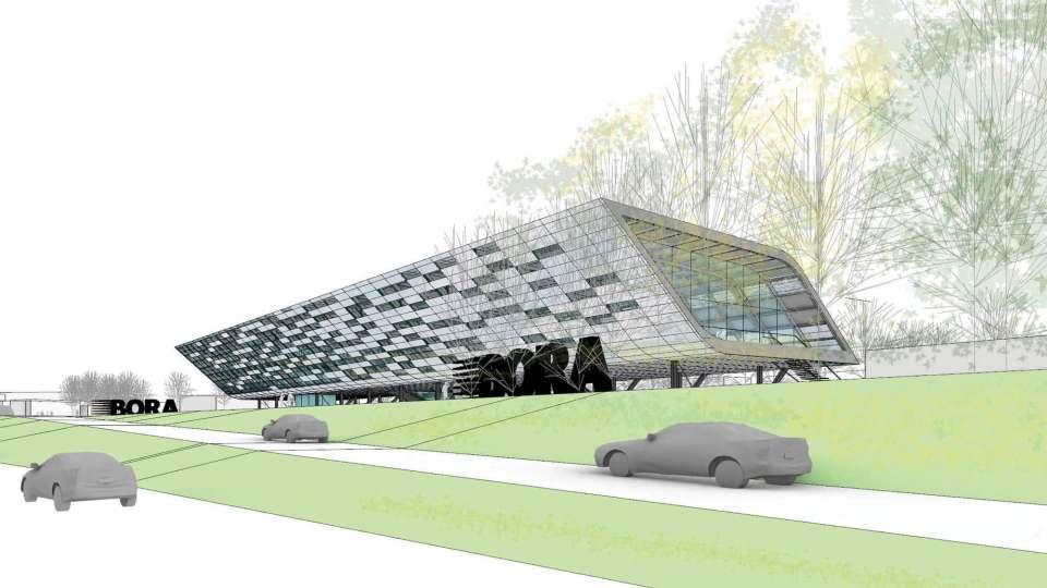 Multifunktional nutzbar: Das geplante Messe- und Ausstellungsgebäude von Bora.