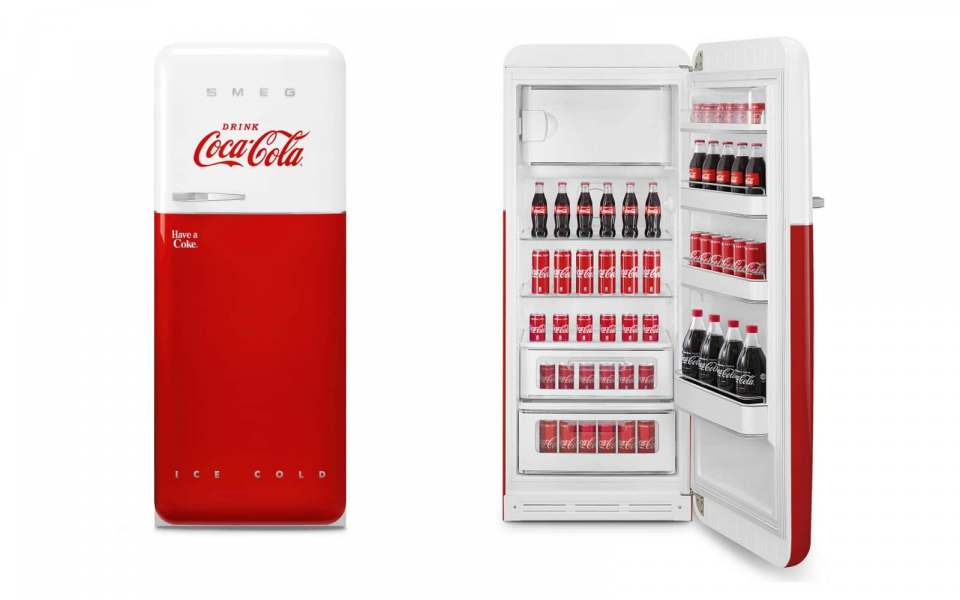 """Smeg Kühlschrank """"Coca-Cola"""" im Stil der 50er Jahre."""